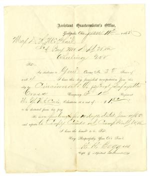 Primary view of object titled '[Letter from H. H. Burggiss to Maj. D. H. McPhail, January 11, 1865]'.