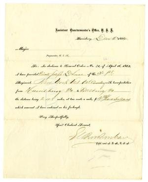Primary view of object titled '[Letter to the Commanding Officer, December 6, 1864]'.