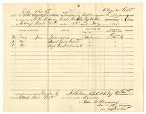 Primary view of object titled '[List of stores received from Lieutenant J. W. Alexander, July 12, 1865]'.