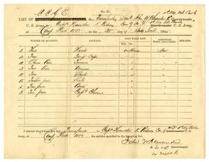 Primary view of [List of stores received from Lieutenant J. W. Alexander, June 30, 1865]
