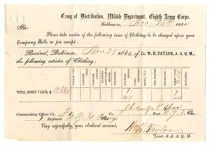 Primary view of object titled '[Receipt of William H. Taylor, November 25, 1864]'.