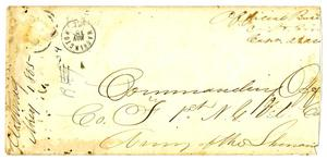 Primary view of object titled '[Envelope Addressed to the Commanding Officer, May 1, 1865]'.