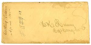 Primary view of object titled '[Envelope addressed to H.K. Redway, April, 1865]'.