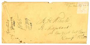 Primary view of object titled '[Envelope Addressed to A. H. Nash, 1865]'.