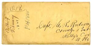 Primary view of object titled '[Envelope Addressed to Captain Redway]'.
