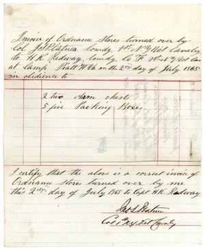 Primary view of object titled '[Ordnance Voucher, July 2, 1865]'.
