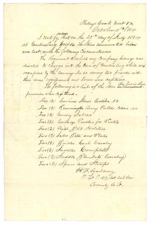 Primary view of object titled '[List of stores lost, October 15, 1864]'.