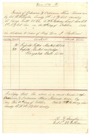 Primary view of object titled '[Invoice of ordnances, October 14, 1864]'.