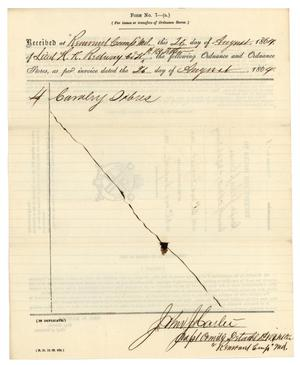 Primary view of object titled '[Receipt for issues, August 26, 1864]'.