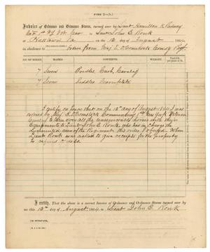 Primary view of object titled '[Invoice of ordinance, August 12, 1864]'.