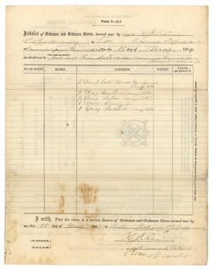 Primary view of object titled '[Invoice of ordnance and ordnance stores, May 15, 1864]'.