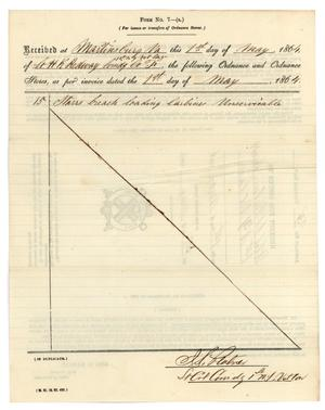 Primary view of object titled '[Receipt for issues, May 1, 1864]'.