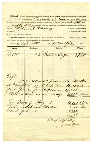 Primary view of object titled '[Receipt of H. R. Redway, April 11, 1865]'.