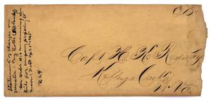 Primary view of object titled '[Envelope to Capt. H. K. Redway, no date]'.