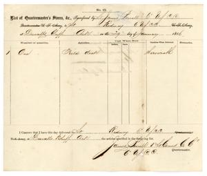 Primary view of object titled '[List of Quartermaster's Stores, January 29, 1866]'.