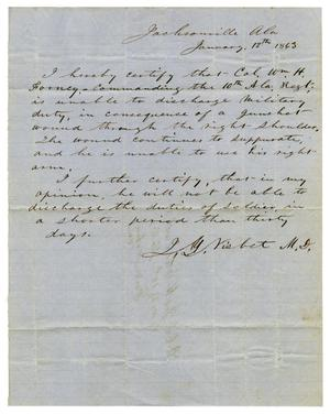 Primary view of [Letter from J. Y. Visbet, January 12, 1863]