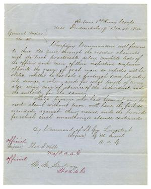 Primary view of [Letter from Lieutenant General Longstreet, December 29,1862]