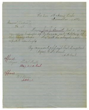 Primary view of object titled '[Letter from Lieutenant General Longstreet, November 14,1862]'.