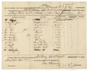 Primary view of [List of Clothing, Camp and Garrison Equipage from John W. Alexander, December 16, 1864]