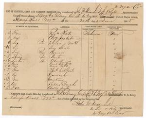 Primary view of object titled '[List of Clothing, Camp and Garrison Equipage from John W. Alexander,June 20, 1865]'.