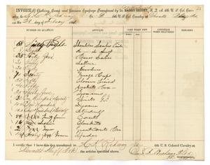 Primary view of [Invoice of Supplies from D. B. Abrahams, February 28, 1866]