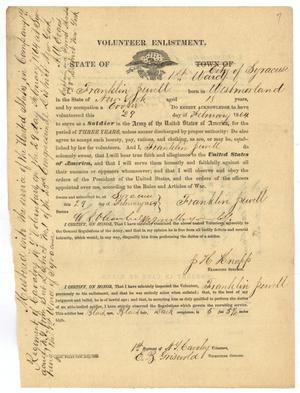 Primary view of object titled '[Volunteer Enlistment Form for Franklin Juvell - February 29, 1864]'.