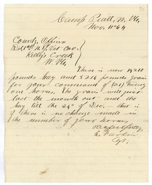 Primary view of object titled '[Letter from S. Farlin to Hamilton K. Redway, November 11, 1864]'.