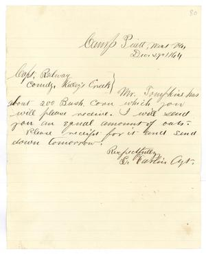 Primary view of object titled '[Letter from S. Farlin to Captain Hamilton K. Redway, December 29, 1864]'.