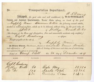 Primary view of object titled '[Receipt of supplies, December 30, 1864]'.