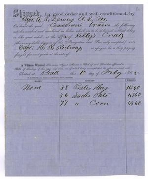 Primary view of object titled '[Receipt of supplies, February 1, 1865]'.
