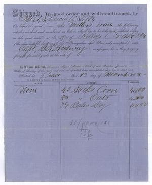 Primary view of object titled '[Receipt of supplies, March 1, 1865]'.