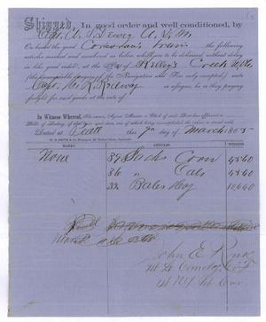 Primary view of object titled '[Receipt of supplies, March 9, 1865]'.