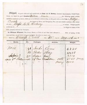 Primary view of object titled '[Receipt of supplies, March 30, 1865]'.