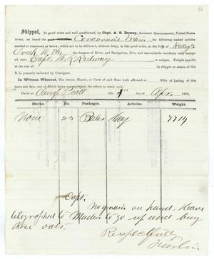 Primary view of object titled '[Receipt of supplies, April 4, 1865]'.