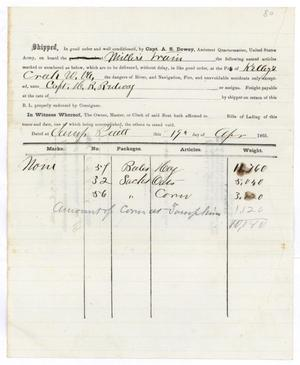 Primary view of object titled '[Receipt of supplies, April 19, 1865]'.