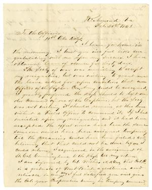Primary view of object titled '[Letter from John H. Caldwell, February 21, 1863]'.