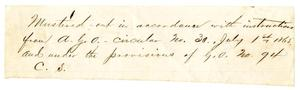 Primary view of [Note Regarding Military Actions, July 1, 1865]