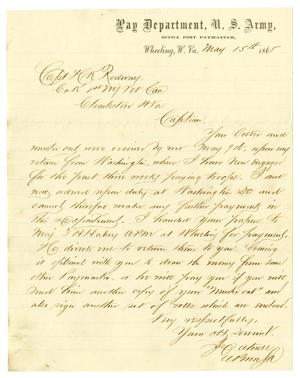 Primary view of object titled '[Letter to Capt. H K. Redway, May 15, 1865]'.