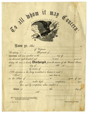 Primary view of object titled '[Blank Discharge Form]'.
