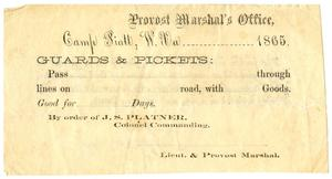 Primary view of object titled '[Blank Provost Marshal's Office Form, 1865]'.