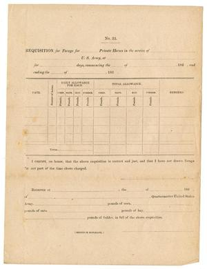 Primary view of object titled '[Blank Requisition for Horses Form]'.