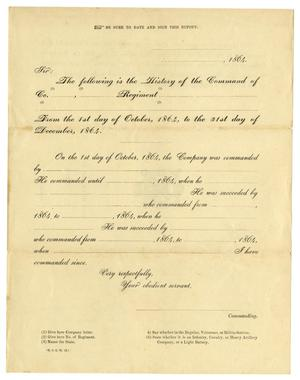 Primary view of object titled '[Blank Company History Form]'.