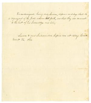 Primary view of object titled '[Blank Sworn Statement Form]'.