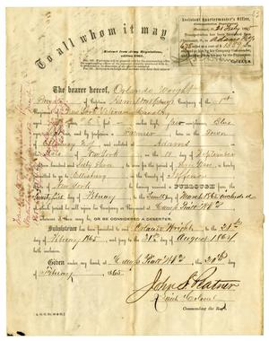 Primary view of object titled '[Pass for furlough for Orlando Wright, February 20, 1865]'.