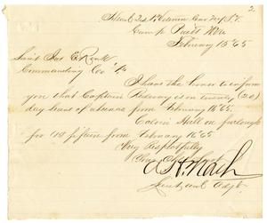 Primary view of object titled '[Furlough pass for Hamilton K. Redway, February 15, 1865]'.