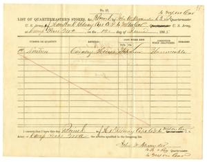 Primary view of object titled '[List of Quartermaster's Stores Received of Captain Hamilton K. Redway - June 12, 1865]'.