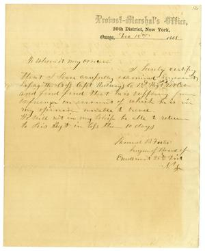 Primary view of object titled '[Letter from Samuel B. Foster, December 18, 1865]'.