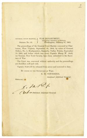 Primary view of object titled '[General court martial order, January 31, 1865]'.