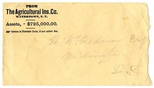 Primary view of [Envelope from the Agricultural Ins. Co., March 15, 1873]