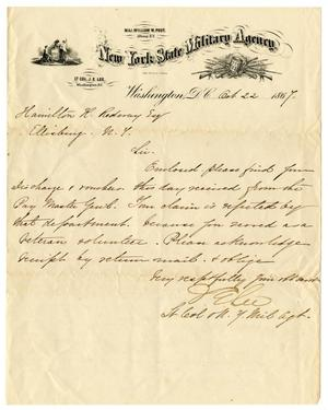 Primary view of object titled '[Letter from New York State Military Agency, October 22, 1867]'.
